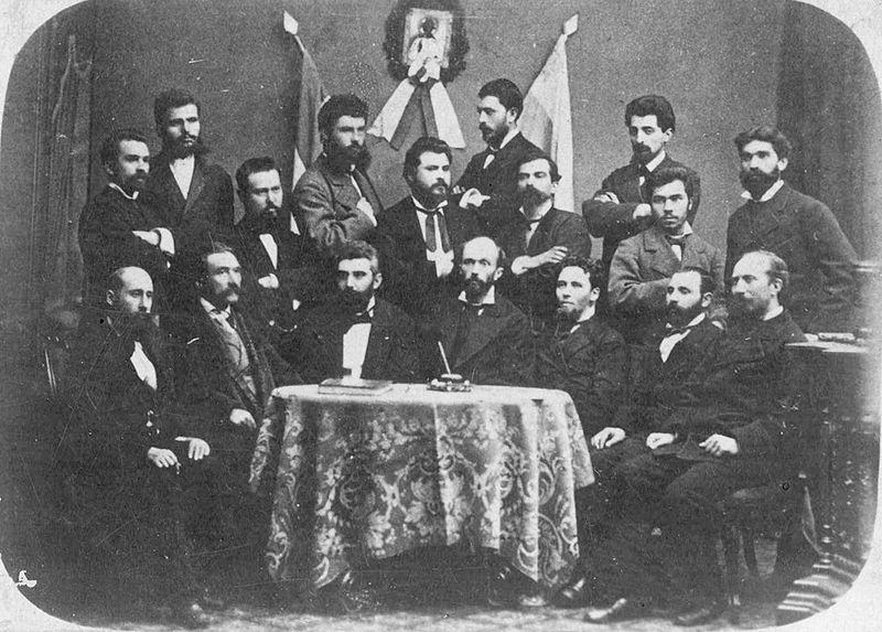 По време на общо събрание на БЦБО през ноември 1876 г. - Стамболов е предпоследен на задния ред