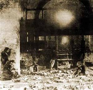Една от най-ранните снимки на църквата в Батак след клането( 1878)