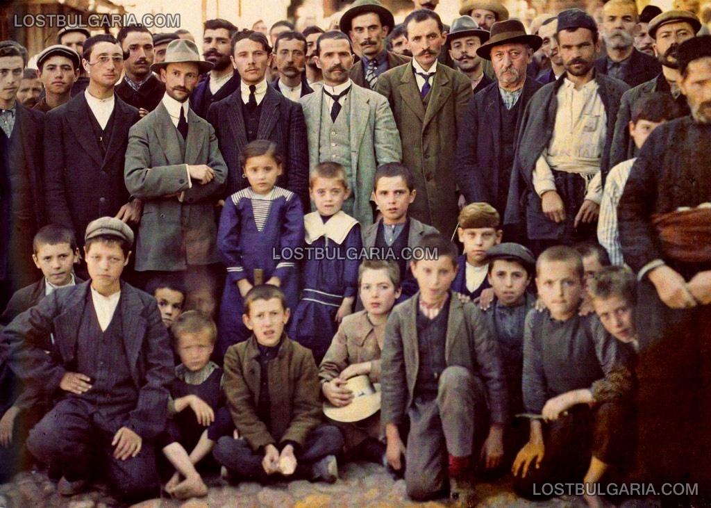 Мелник 1913 година, оцветена фотография,бежанци от пределите на Османската империя след Балканската война