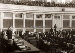 Министър-председателят Кимон Георгиев чете декларация на второто отечествено-фронтовско правителство, 1946г. www.lostbulgaria.com