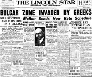 Отзвук в световните медии: Американски вестник от 25 октомври 1925 информира за събитията
