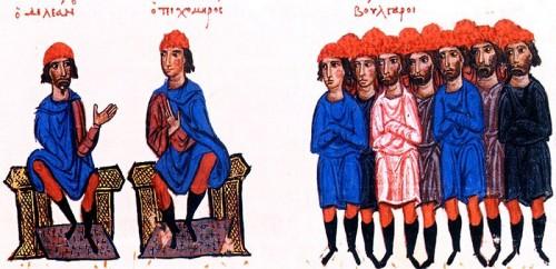 Петър Делян и Тихомир, миниатюра от Мадридския препис на Хрониката на Йоан Скилица