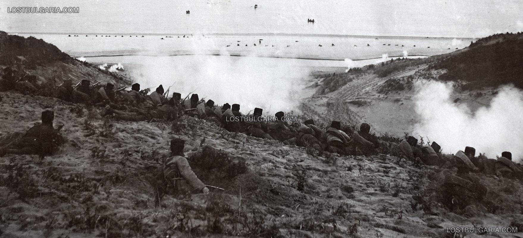 Битката при Булаир на брега на Мраморно море, позициите на българската войска, която отблъсква настъпващите от морето турски части, февруари 1913 г.
