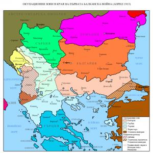 Карта на Балканите според Лондонския мирен договор
