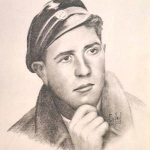 Един от портретите на горяните - Васил Симеонов, убит на 21 години | Рисунка: Костадин Събев