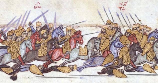 Българската победа при Ахелой, илюстрация към хрониката на Йоан Скилица