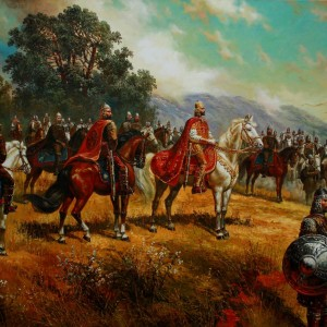 Цар Симеон при Ахелой - картина на Васил Горанов