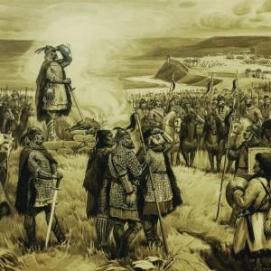 Хан Крум с войската си преди поход - картина Д. Гюдженов