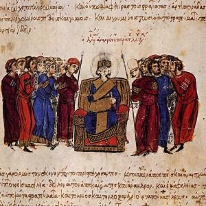 средновековна миниатюра изобразяваща въздигането на Лъв V