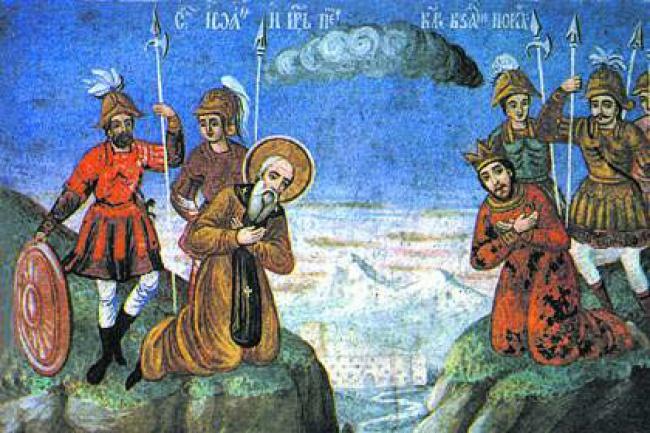 Срещата на св. Иван Рилски с цар Петър