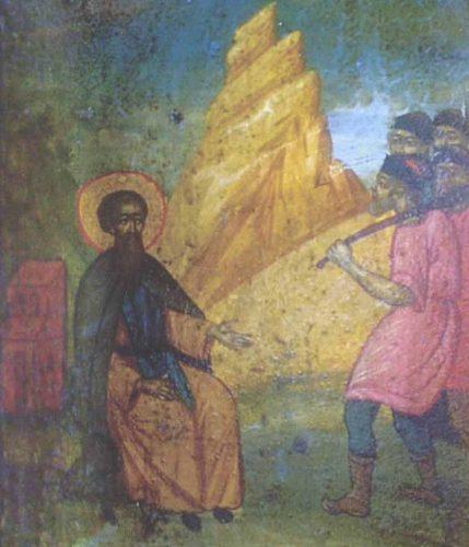 Икона представяща сцена, в която богомили се опитват да изпъдят св. Наум.