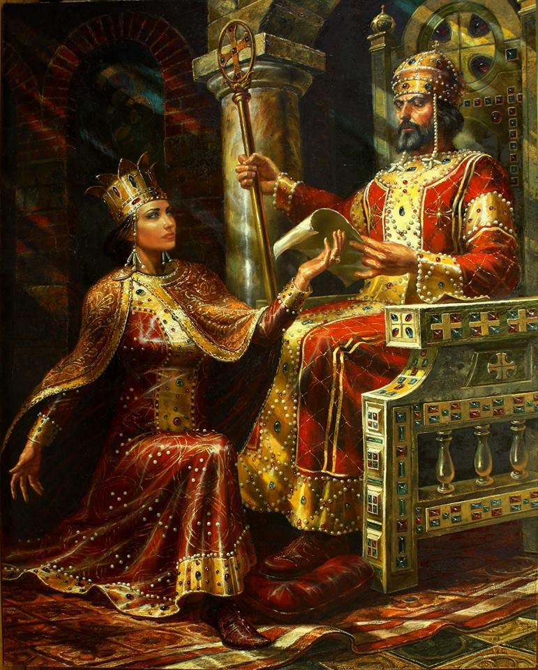 Цар Иван Асен II и царица Ирина художник:Васил Горанов