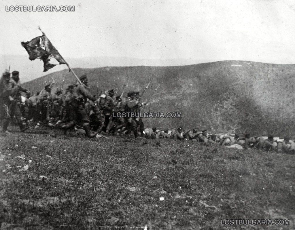 Българската пехота в атака край Люле Бургас, 1912 г.