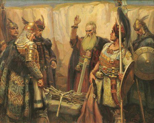 """художник: Димитър Гюдженов """"Хан Кубрат и синовете му"""" (1926 година)"""