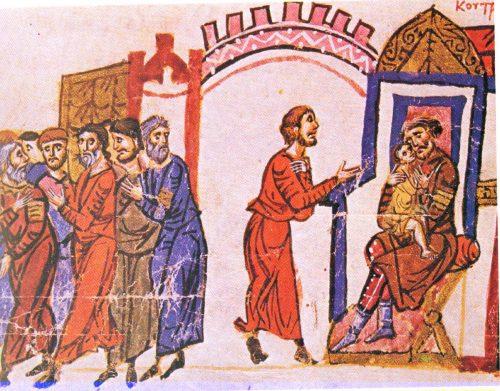 кан Омуртаг освобождава византийски пленници и прегръща малкия Василий - Миниатюра от Мадридския ръкопис на хрониката на Йоан Скилица
