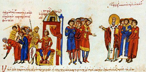Кан Омуртаг се бори срещу християнските проповеди на византийските пленници - миниатюра от Мадридския ръкопис на хрониките на Йоан Скилица