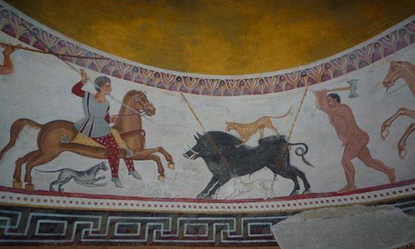 Образът на владетеля, яздещ червен кон, атакуващ глиган, който символизира хаоса и злото